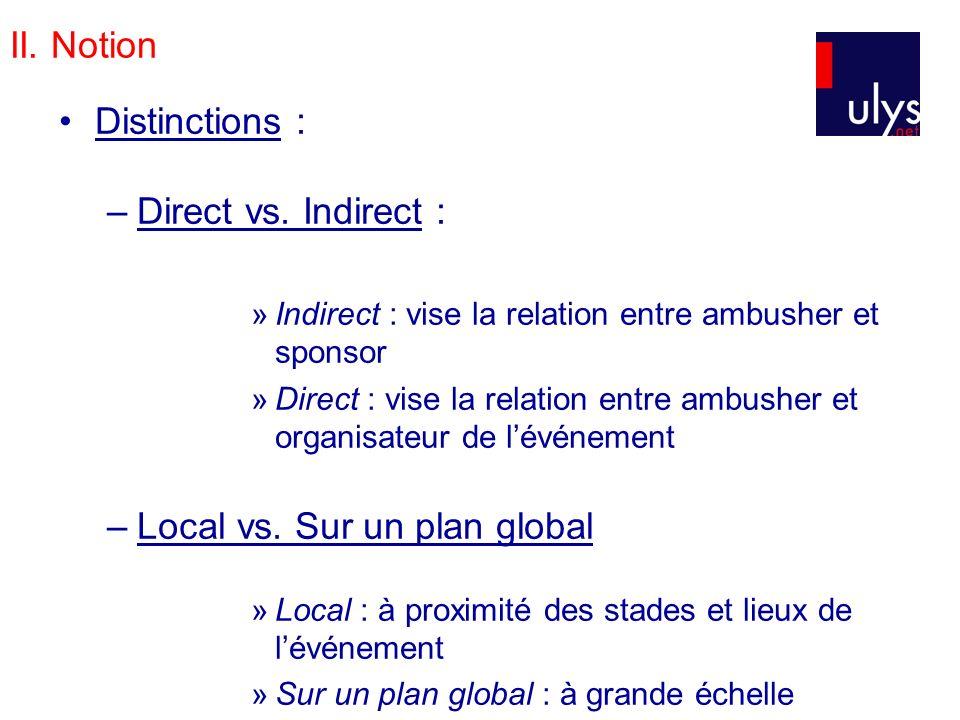 II. Notion Distinctions : –Direct vs. Indirect : »Indirect : vise la relation entre ambusher et sponsor »Direct : vise la relation entre ambusher et o