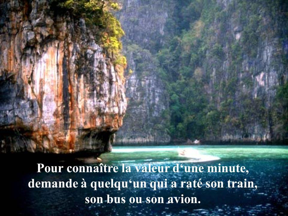Pour connaître la valeur dune minute, demande à quelquun qui a raté son train, son bus ou son avion.