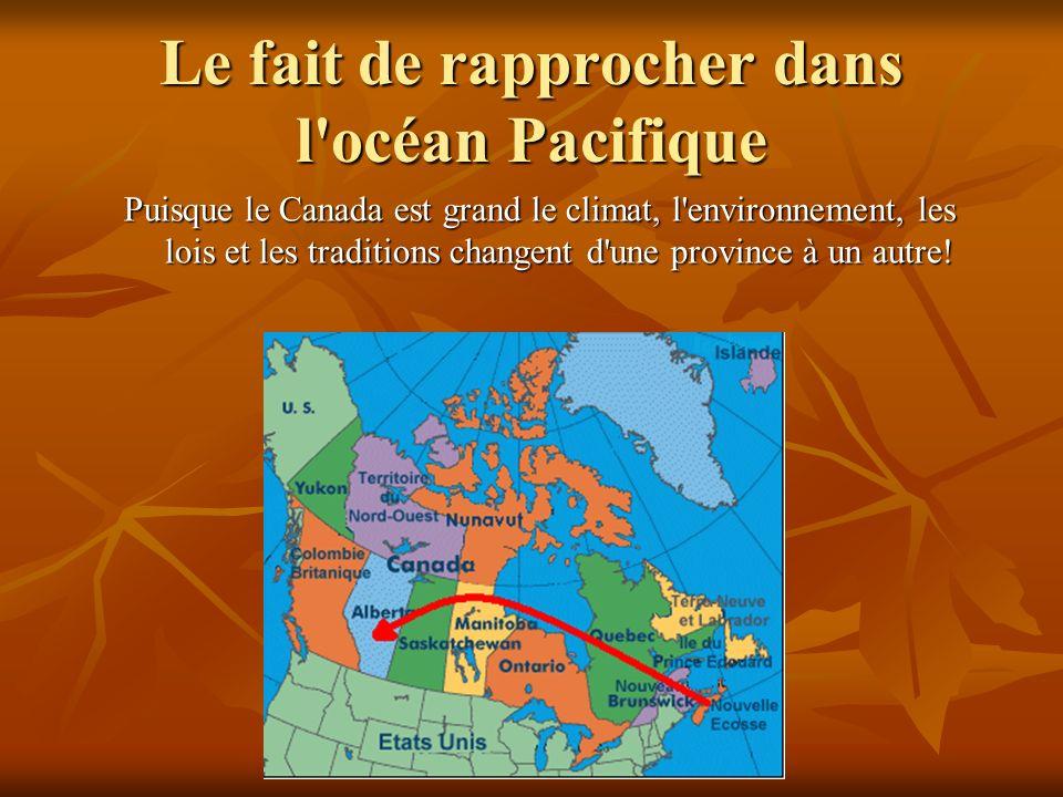 Le fait de rapprocher dans l'océan Pacifique Puisque le Canada est grand le climat, l'environnement, les lois et les traditions changent d'une provinc
