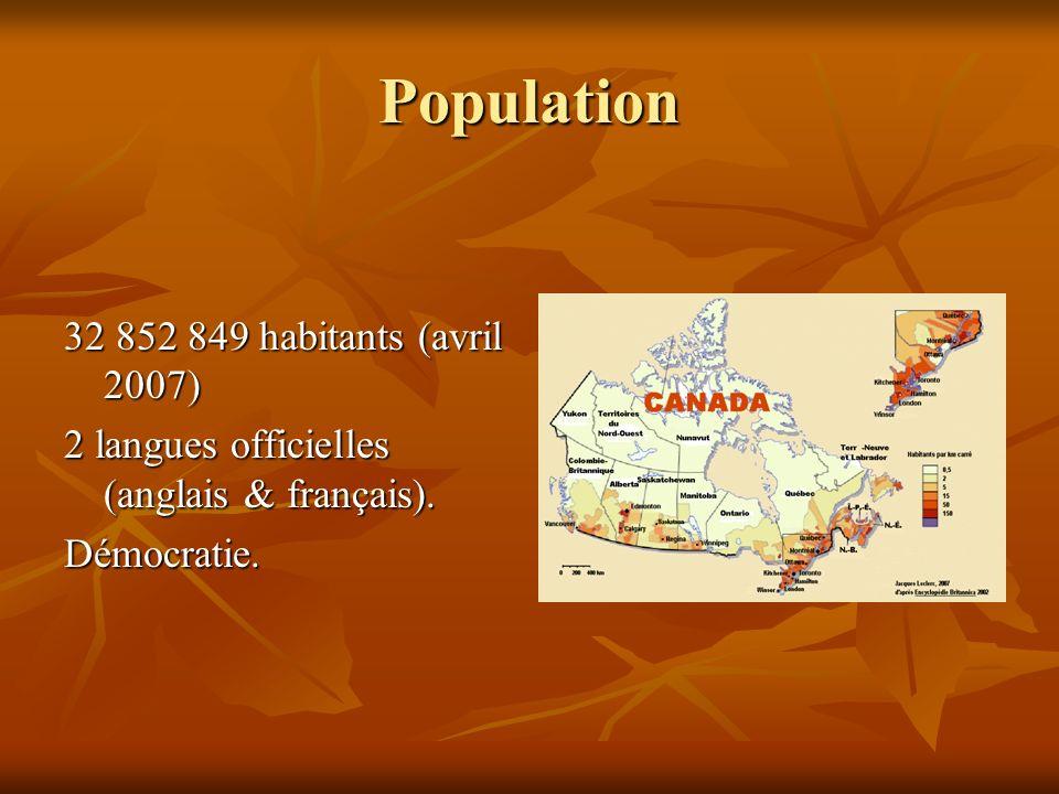 Population 32 852 849 habitants (avril 2007) 2 langues officielles (anglais & français). Démocratie.
