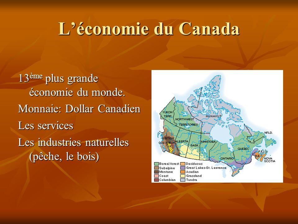 Léconomie du Canada 13 ème plus grande économie du monde. Monnaie: Dollar Canadien Les services Les industries naturelles (pêche, le bois)
