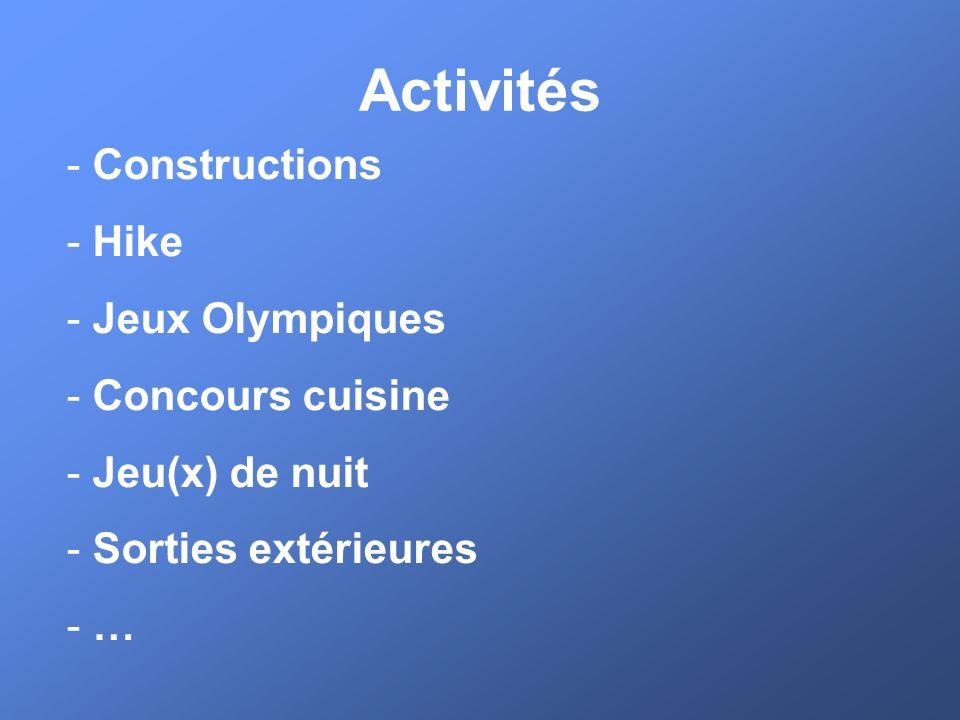 Activités - Constructions - Hike - Jeux Olympiques - Concours cuisine - Jeu(x) de nuit - Sorties extérieures - …