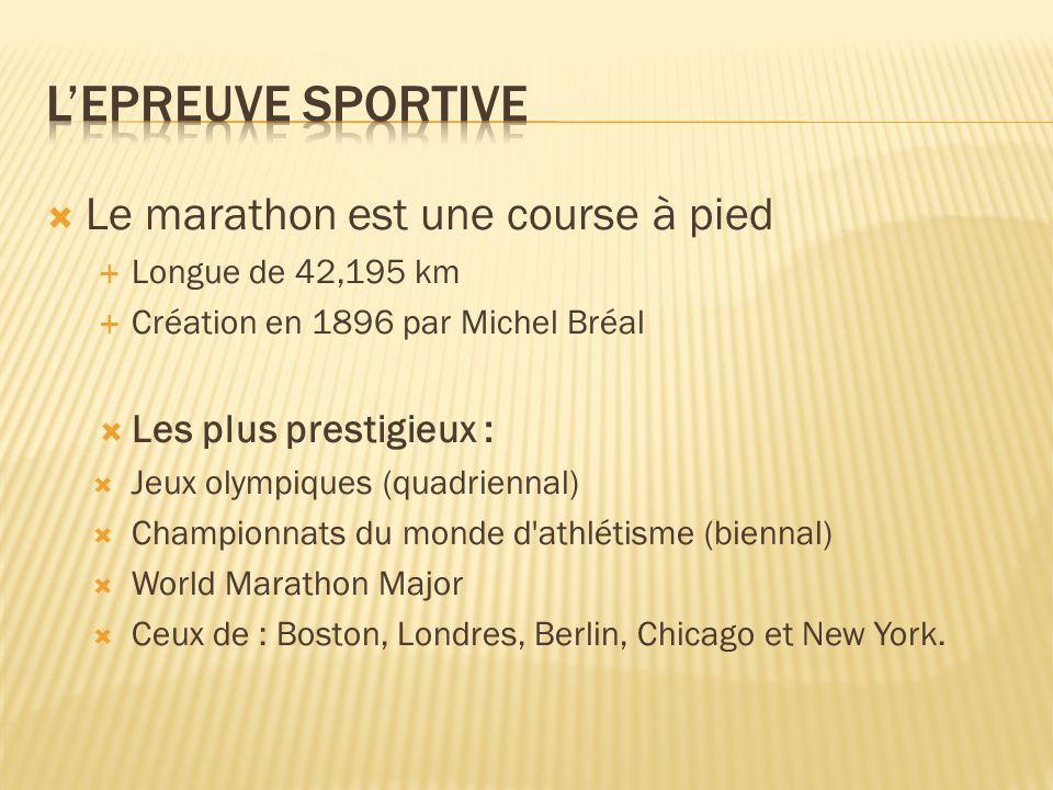 Le marathon est une course à pied Longue de 42,195 km Création en 1896 par Michel Bréal Les plus prestigieux : Jeux olympiques (quadriennal) Championnats du monde d athlétisme (biennal) World Marathon Major Ceux de : Boston, Londres, Berlin, Chicago et New York.
