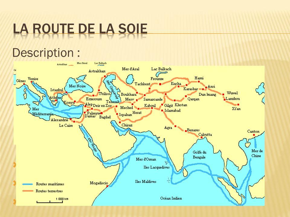 Utilité : Echanges commerciaux entre lEurope et lAsie De nombreuses denrées empruntaient cette route Utilisée par les pèlerins qui cherchaient à refaire les pérégrinations du Bouddha Amenait prospérité aux villes quelle traversait