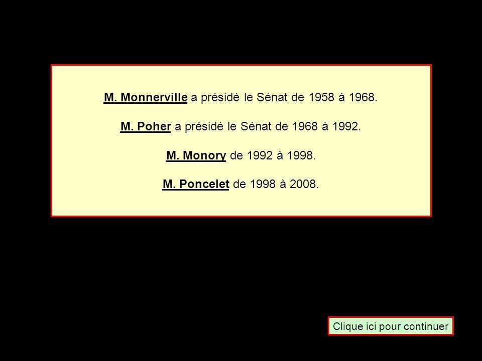 Quel est le Président du Sénat réelu en 2001 ? M. Monory M. Poher M. MonnervilleM. Poncelet