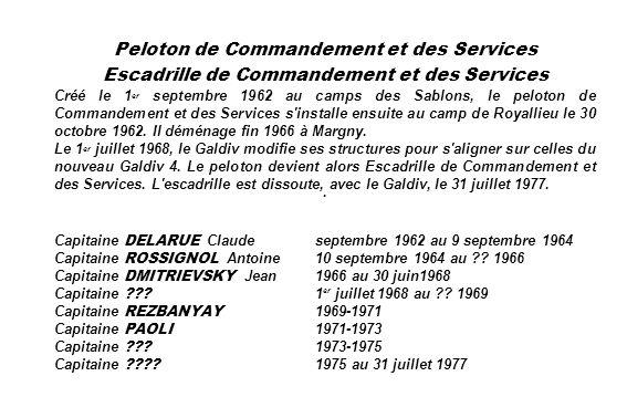 Peloton de Commandement et des Services Escadrille de Commandement et des Services Créé le 1 er septembre 1962 au camps des Sablons, le peloton de Com