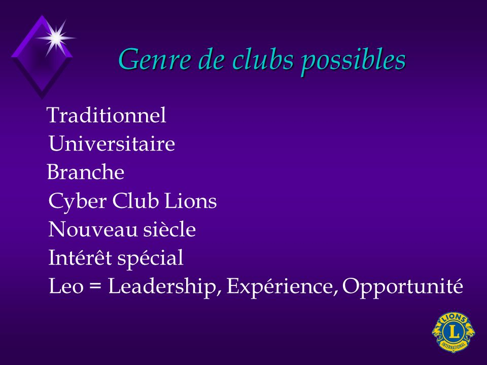 Club traditionnel Comme nos clubs actuels.