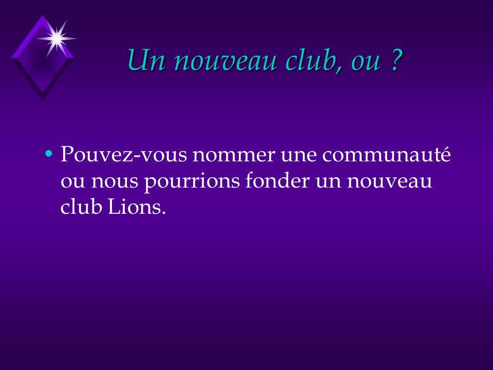 Un nouveau club, ou ? Pouvez-vous nommer une communauté ou nous pourrions fonder un nouveau club Lions.