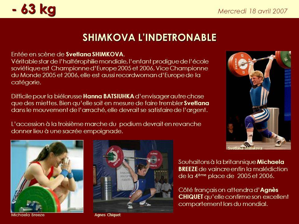 Entée en scène de Svetlana SHIMKOVA. Véritable star de lhaltérophilie mondiale, lenfant prodigue de lécole soviétique est Championne dEurope 2005 et 2