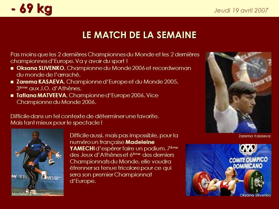 Pas moins que les 2 dernières Championnes du Monde et les 2 dernières championnes dEurope. Va y avoir du sport ! Oksana SLIVENKO, Championne du Monde