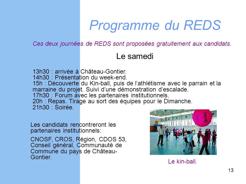 Programme du REDS Ces deux journées de REDS sont proposées gratuitement aux candidats. Le samedi 13h30 : arrivée à Château-Gontier. 14h30 : Présentati
