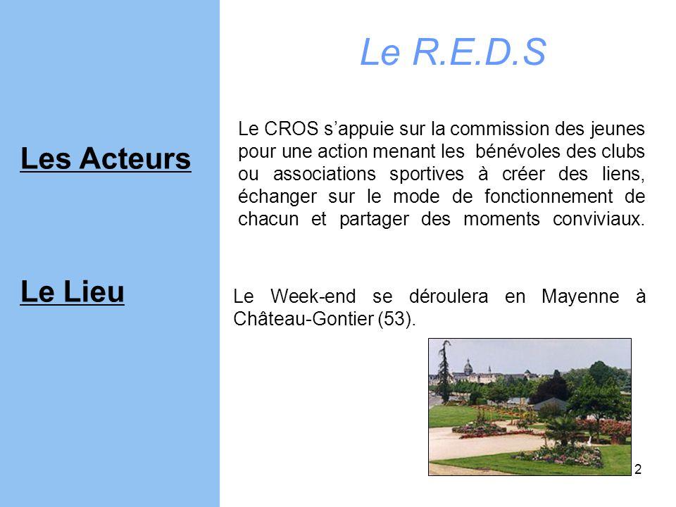 2 Le Week-end se déroulera en Mayenne à Château-Gontier (53). Le CROS sappuie sur la commission des jeunes pour une action menant les bénévoles des cl