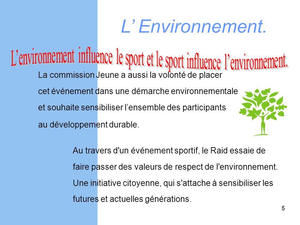 L Environnement. La commission Jeune a aussi la volonté de placer cet événement dans une démarche environnementale et souhaite sensibiliser lensemble