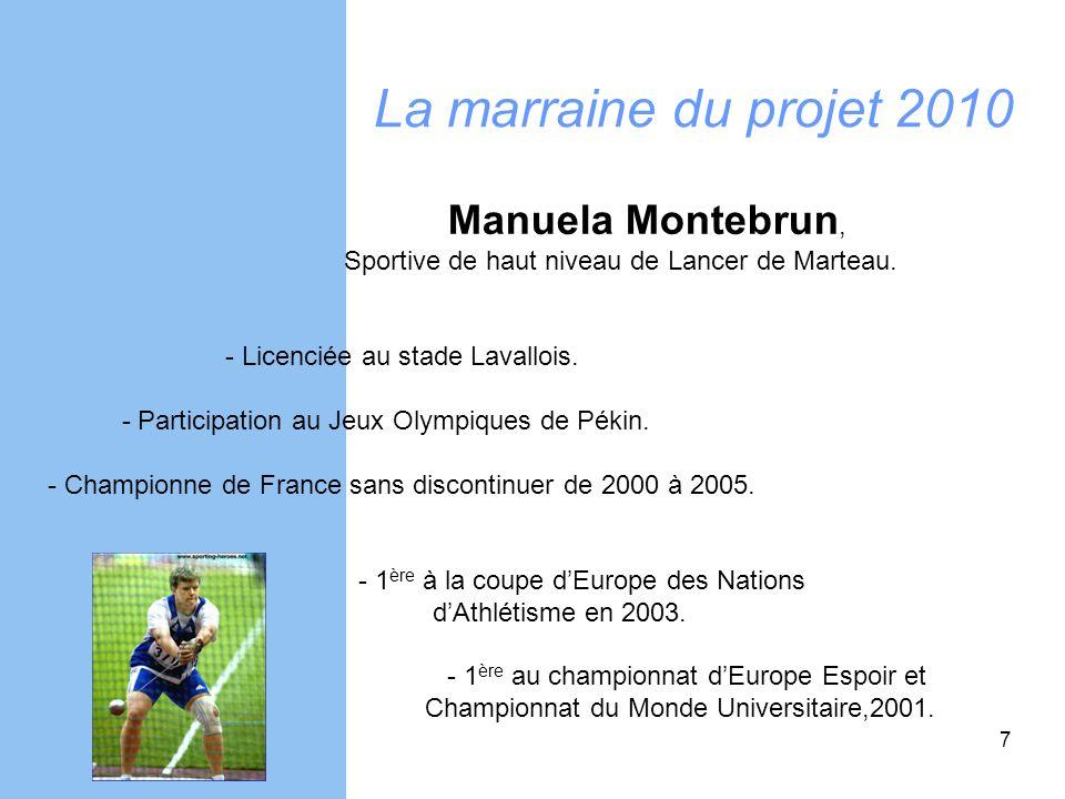 7 La marraine du projet 2010 Manuela Montebrun, Sportive de haut niveau de Lancer de Marteau. - Licenciée au stade Lavallois. - Participation au Jeux