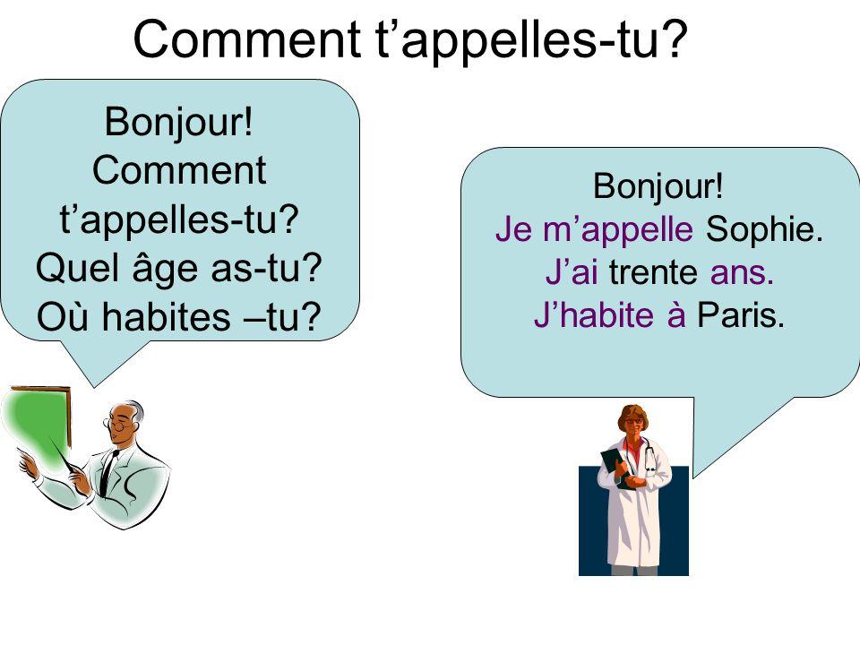 Comment tappelles-tu? Bonjour! Je mappelle Sophie. Jai trente ans. Jhabite à Paris. Bonjour! Comment tappelles-tu? Quel âge as-tu? Où habites –tu?