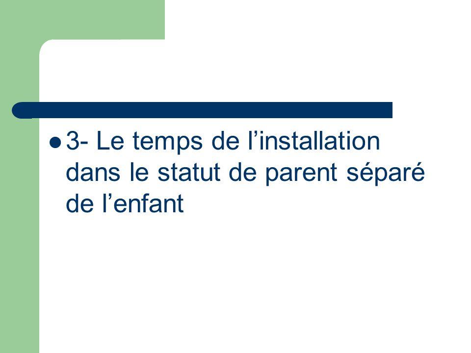 3- Le temps de linstallation dans le statut de parent séparé de lenfant