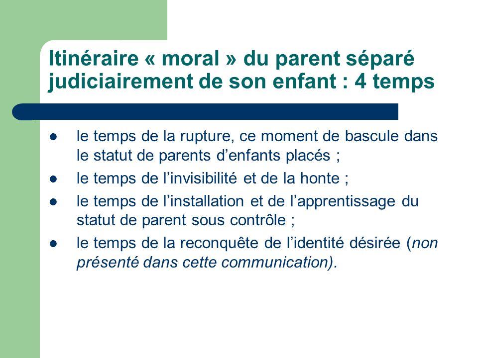 Itinéraire « moral » du parent séparé judiciairement de son enfant : 4 temps le temps de la rupture, ce moment de bascule dans le statut de parents de
