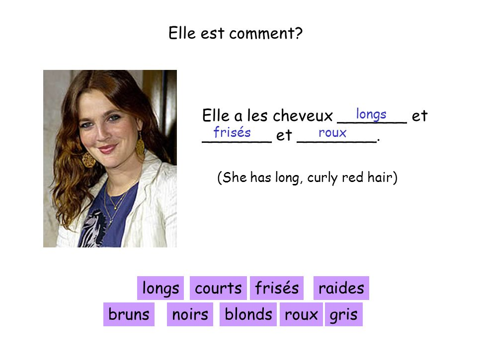 Elle est comment? Elle a les cheveux _______ et _______ et ________. longscourtsfrisésraides blondsbrunsnoirsrouxgris (She has long, curly red hair) l