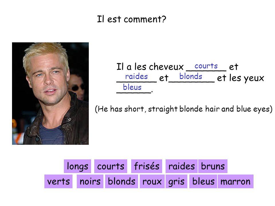 Il est comment? Il a les cheveux _______ et _______ et________ et les yeux ______. longscourtsfrisésraides blonds bruns noirsrouxgris (He has short, s