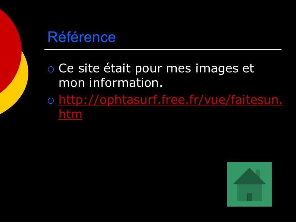 Référence Ce site était pour mes images et mon information. http://ophtasurf.free.fr/vue/faitesun. htm