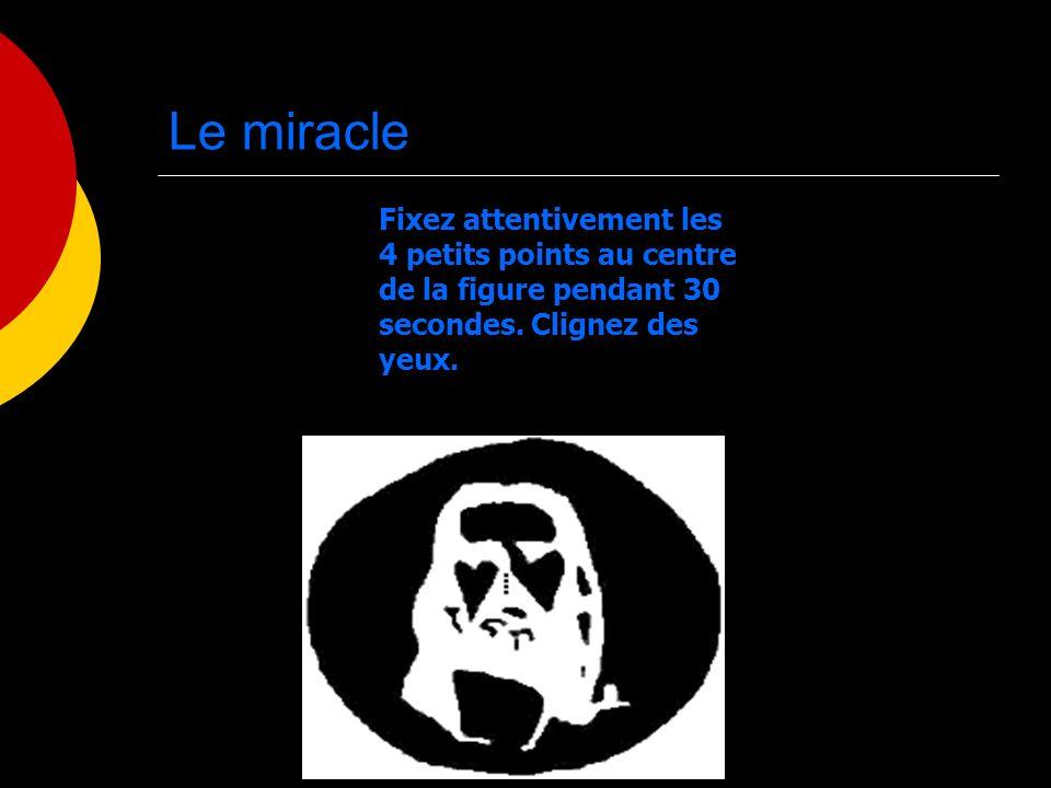 Le miracle Fixez attentivement les 4 petits points au centre de la figure pendant 30 secondes. Clignez des yeux.