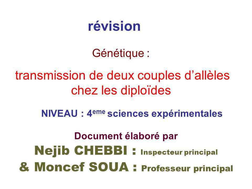 révision NIVEAU : 4 eme sciences expérimentales Document élaboré par Nejib CHEBBI : Inspecteur principal & Moncef SOUA : Professeur principal Génétiqu