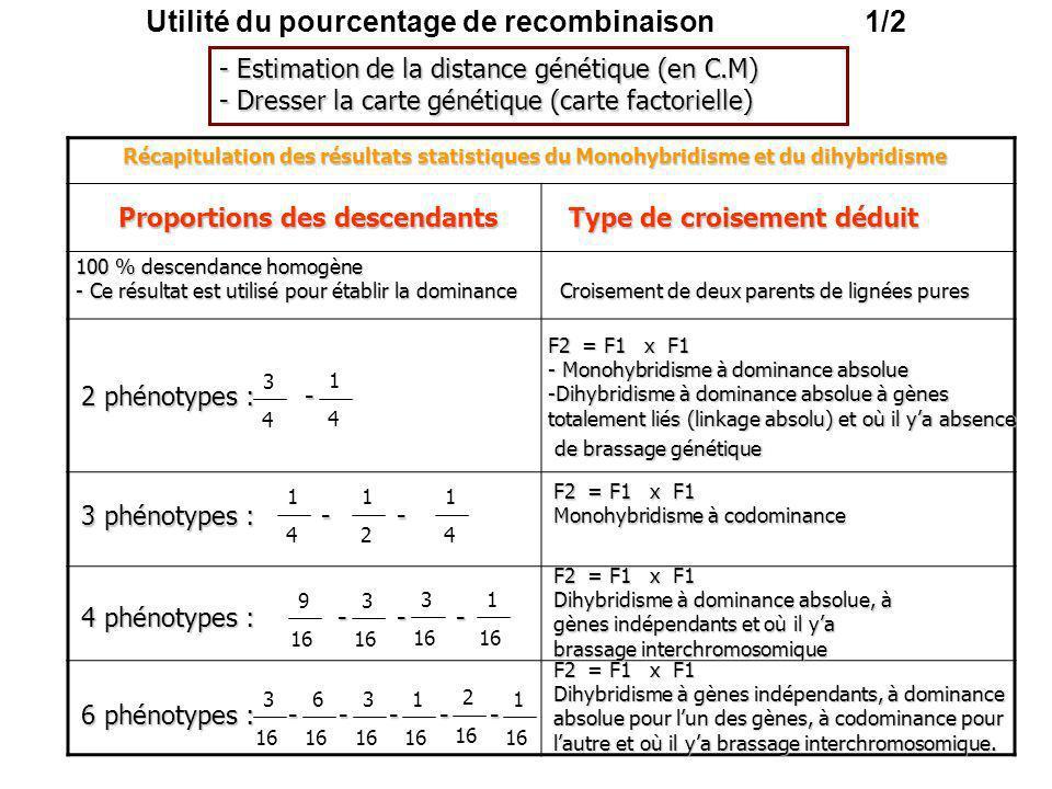 Utilité du pourcentage de recombinaison 1/2 1 4 3 4 1 4 1 2 1 4 9 16 3 16 3 16 1 16 3 16 3 16 6 16 1 16 2 16 1 16 - Estimation de la distance génétiqu