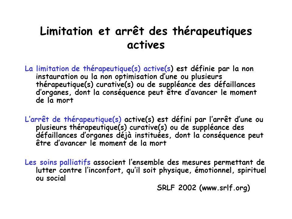 Limitation et arrêt des thérapeutiques actives La limitation de thérapeutique(s) active(s) est définie par la non instauration ou la non optimisation dune ou plusieurs thérapeutique(s) curative(s) ou de suppléance des défaillances dorganes, dont la conséquence peut être davancer le moment de la mort Larrêt de thérapeutique(s) active(s) est défini par larrêt dune ou plusieurs thérapeutique(s) curative(s) ou de suppléance des défaillances dorganes déjà instituées, dont la conséquence peut être davancer le moment de la mort Les soins palliatifs associent lensemble des mesures permettant de lutter contre linconfort, quil soit physique, émotionnel, spirituel ou social SRLF 2002 (www.srlf.org)