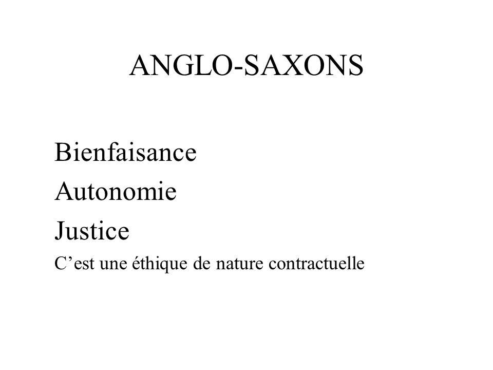 ANGLO-SAXONS Bienfaisance Autonomie Justice Cest une éthique de nature contractuelle