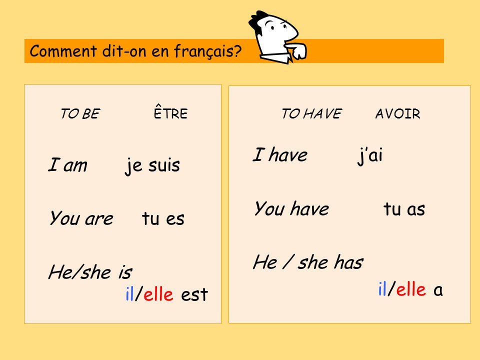 TO BEÊTRE I amje suis You are tu es He/she is il/elle est TO HAVEAVOIR I have jai You have tu as He / she has il/elle a Comment dit-on en français?