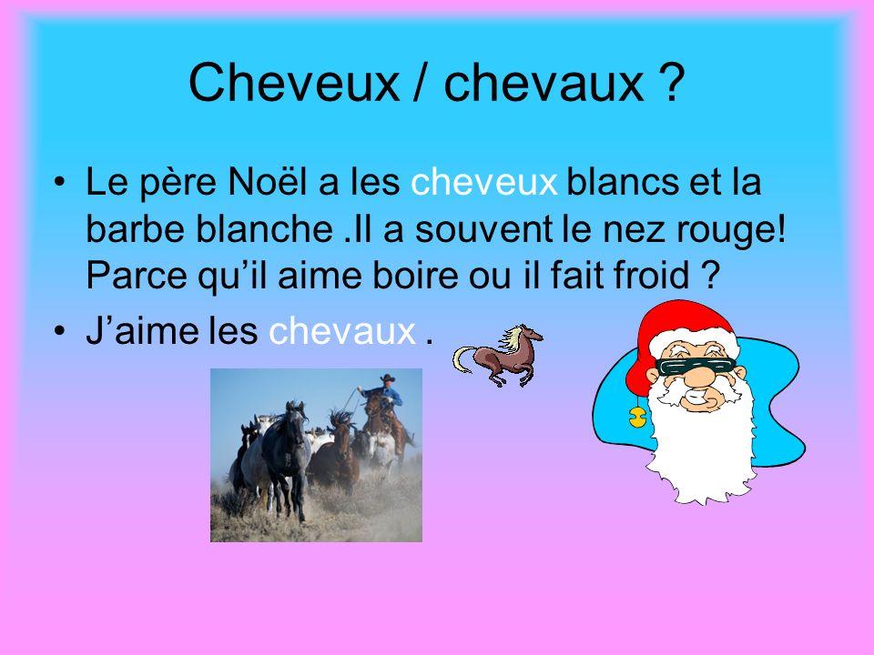 Cheveux / chevaux ? Le père Noël a les cheveux blancs et la barbe blanche.Il a souvent le nez rouge! Parce quil aime boire ou il fait froid ? Jaime le