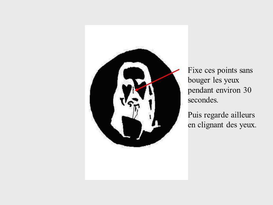 Fixe ces points sans bouger les yeux pendant environ 30 secondes. Puis regarde ailleurs en clignant des yeux.