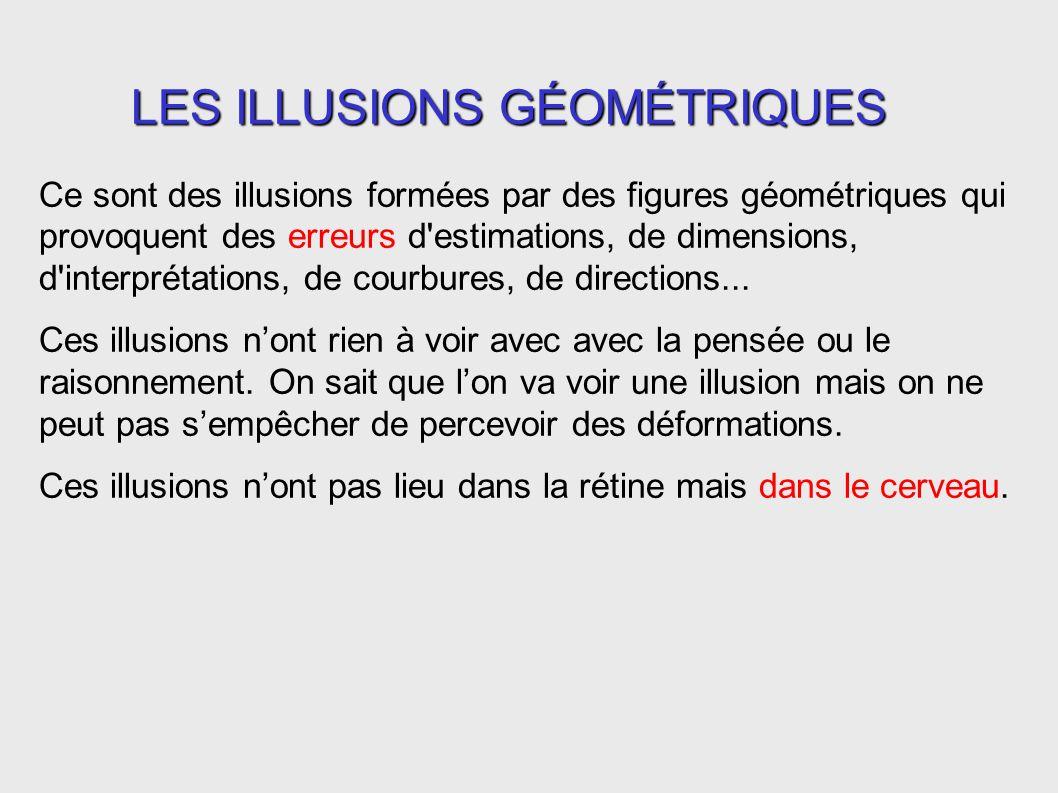 Ce sont des illusions formées par des figures géométriques qui provoquent des erreurs d'estimations, de dimensions, d'interprétations, de courbures, d