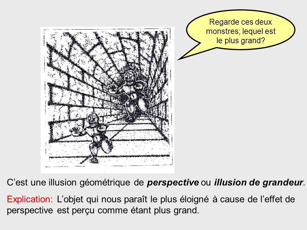 Cest une illusion géométrique de perspective ou illusion de grandeur. Explication: Lobjet qui nous paraît le plus éloigné à cause de leffet de perspec