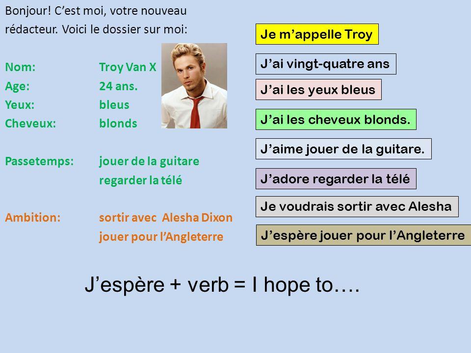 Bonjour.Cest moi, votre nouveau rédacteur. Voici le dossier sur moi: Nom: Troy Van X Age: 24 ans.