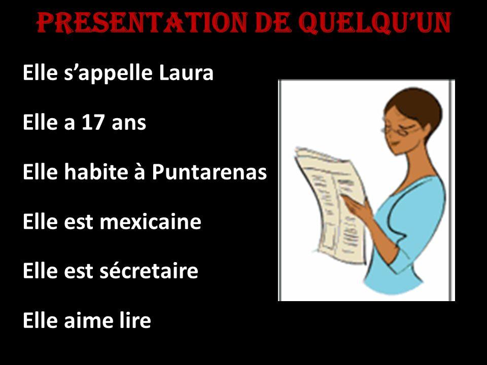 PresentaTiOn de quelquun Elle sappelle Laura Elle a 17 ans Elle habite à Puntarenas Elle est mexicaine Elle est sécretaire Elle aime lire