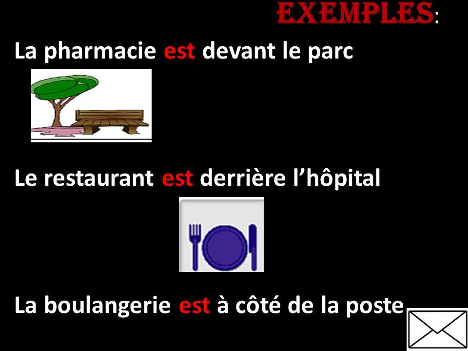 EXEMPLES EXEMPLES : La pharmacie est devant le parc Le restaurant est derrière lhôpital La boulangerie est à côté de la poste
