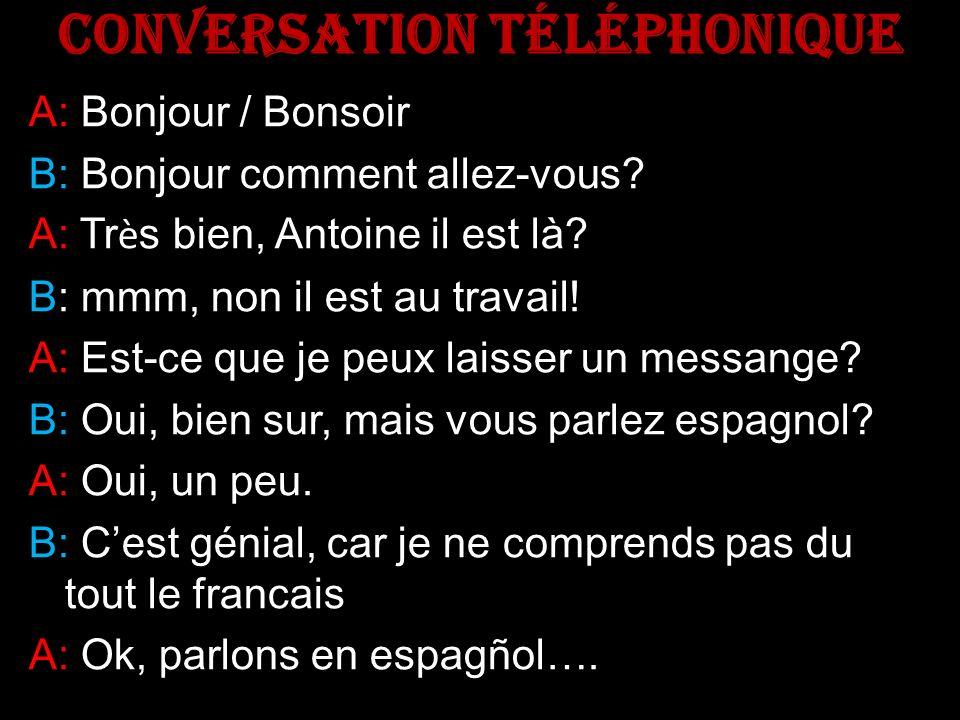 CONVERSATION TÉLÉPHONIQUE A: A: Bonjour / Bonsoir B: B: Bonjour comment allez-vous.