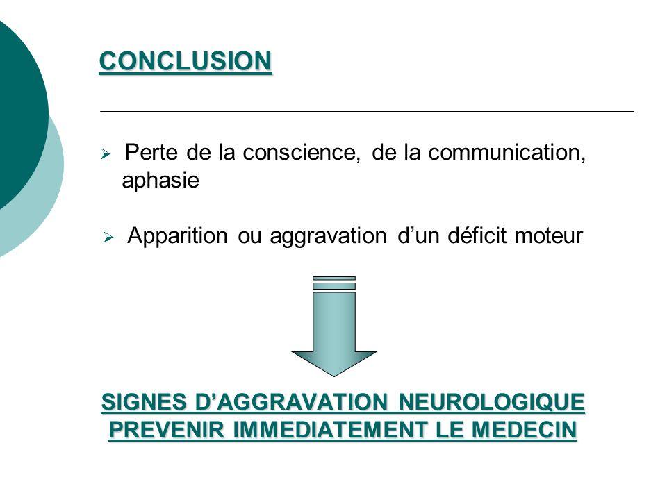 CONCLUSION Perte de la conscience, de la communication, aphasie Apparition ou aggravation dun déficit moteur SIGNES DAGGRAVATION NEUROLOGIQUE PREVENIR