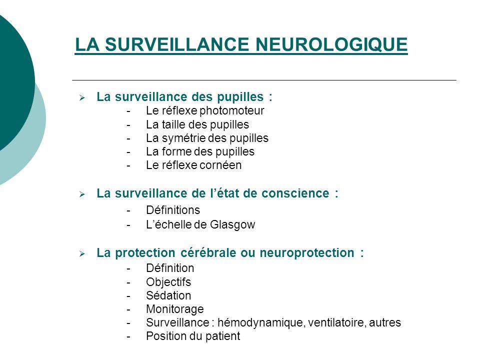LA SURVEILLANCE NEUROLOGIQUE La surveillance des pupilles : - Le réflexe photomoteur - La taille des pupilles - La symétrie des pupilles - La forme des pupilles - Le réflexe cornéen La surveillance de létat de conscience : - Définitions - Léchelle de Glasgow La protection cérébrale ou neuroprotection : - Définition - Objectifs - Sédation - Monitorage - Surveillance : hémodynamique, ventilatoire, autres - Position du patient