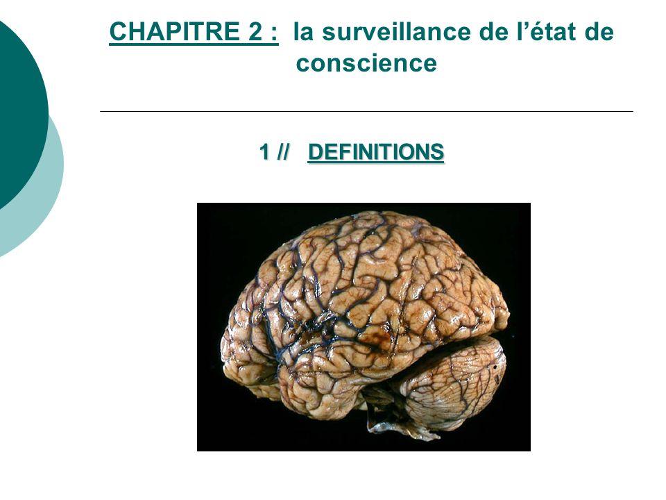 CHAPITRE 2 : la surveillance de létat de conscience 1 // DEFINITIONS