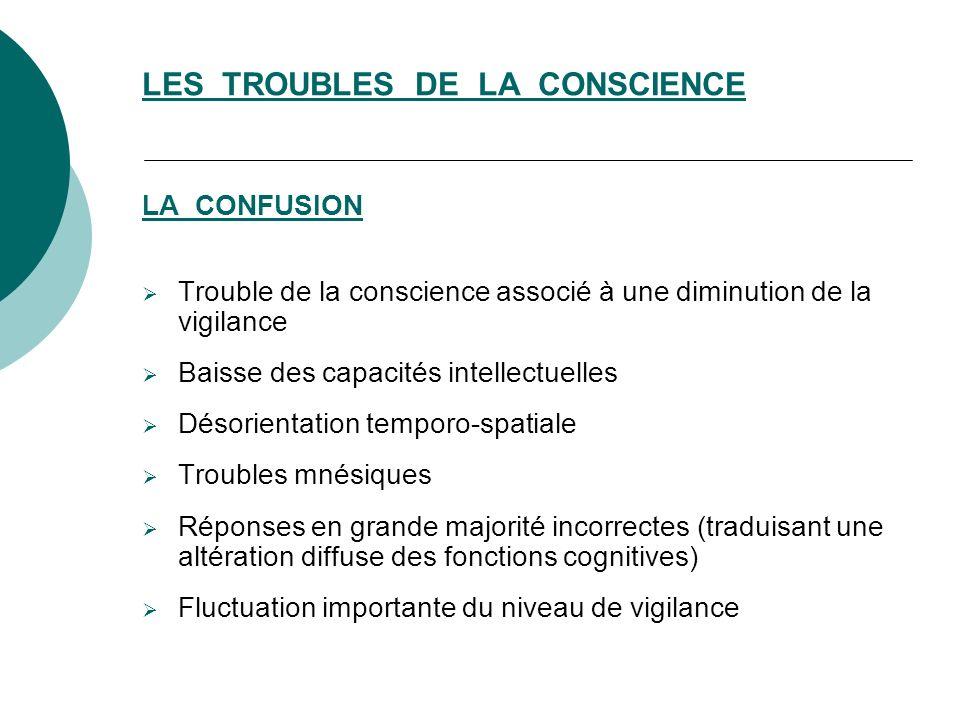 LA CONFUSION Trouble de la conscience associé à une diminution de la vigilance Baisse des capacités intellectuelles Désorientation temporo-spatiale Tr