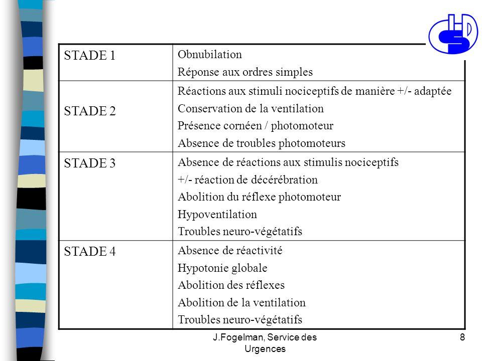 J.Fogelman, Service des Urgences 8 STADE 1 Obnubilation Réponse aux ordres simples STADE 2 Réactions aux stimuli nociceptifs de manière +/- adaptée Co
