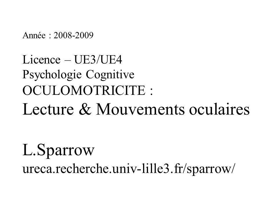 Année : 2008-2009 Licence – UE3/UE4 Psychologie Cognitive OCULOMOTRICITE : Lecture & Mouvements oculaires L.Sparrow ureca.recherche.univ-lille3.fr/spa