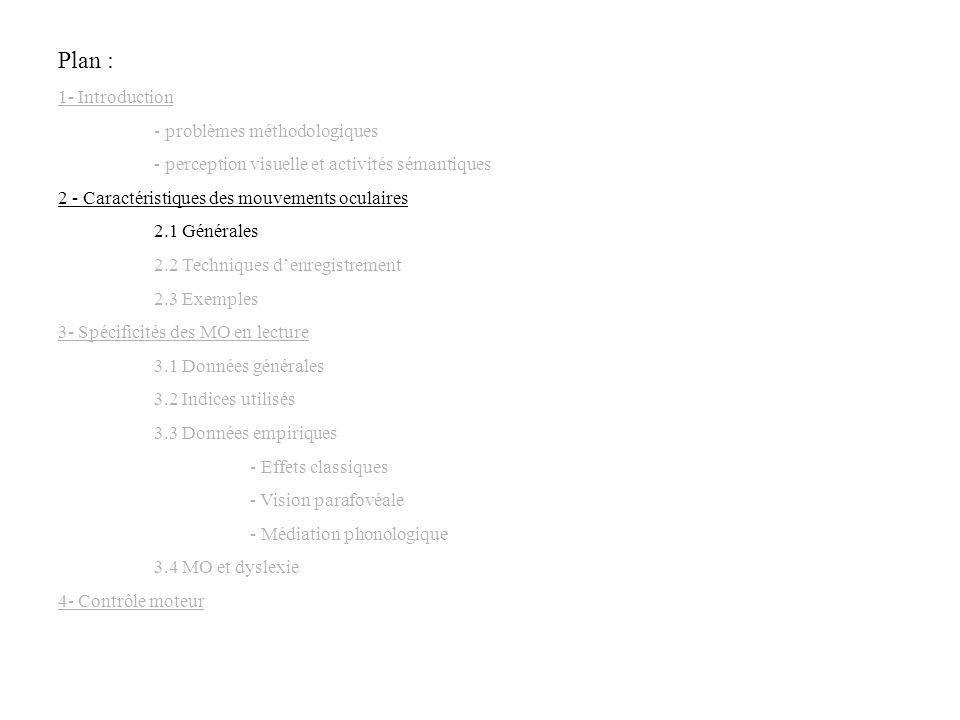 Plan : 1- Introduction - problèmes méthodologiques - perception visuelle et activités sémantiques 2 - Caractéristiques des mouvements oculaires 2.1 Gé