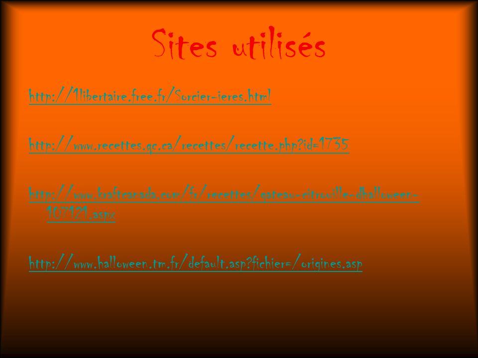 Sites utilisés http://1libertaire.free.fr/Sorcier-ieres.html http://www.recettes.qc.ca/recettes/recette.php?id=1735 http://www.kraftcanada.com/fr/rece