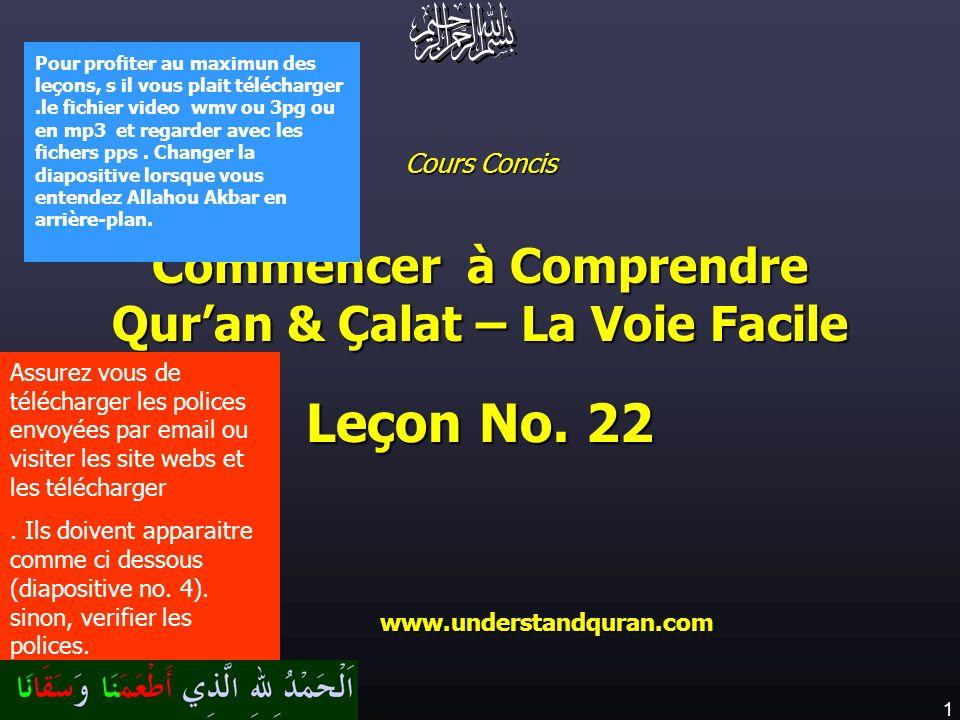 1 www.understandquran.com Cours Concis Commencer à Comprendre Quran & Çalat – La Voie Facile Leçon No. 22 www.understandquran.com www.understandquran.