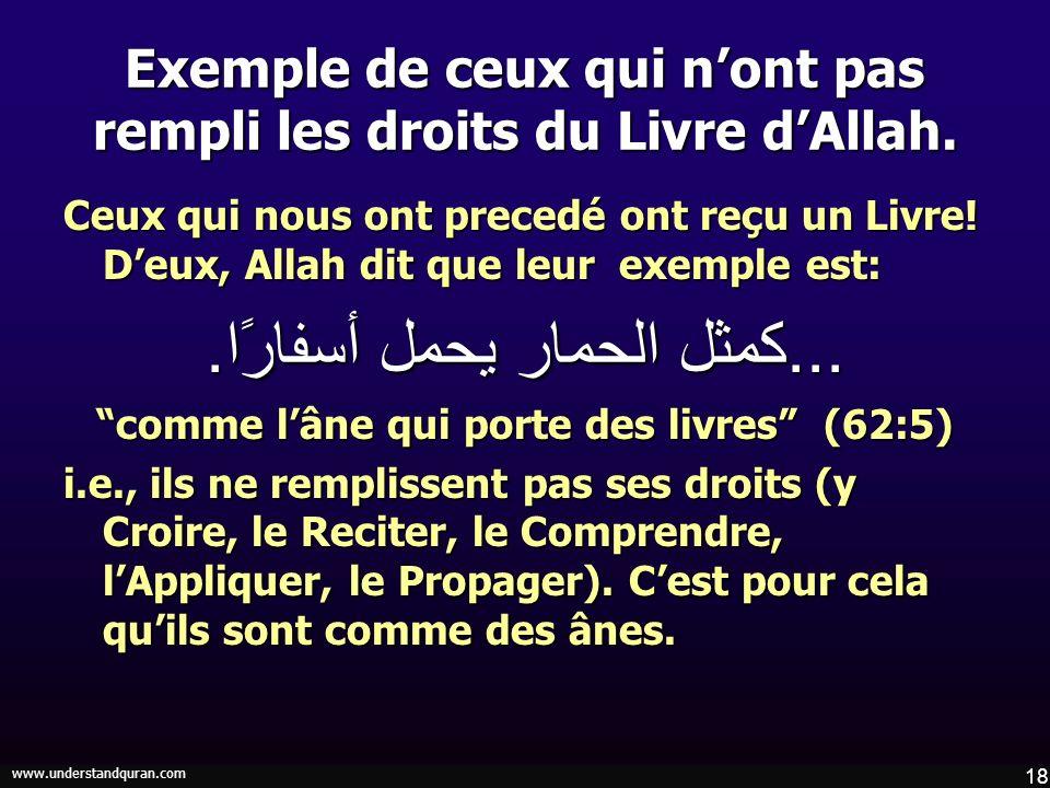 18 www.understandquran.com Exemple de ceux qui nont pas rempli les droits du Livre dAllah. Ceux qui nous ont precedé ont reçu un Livre! Deux, Allah di
