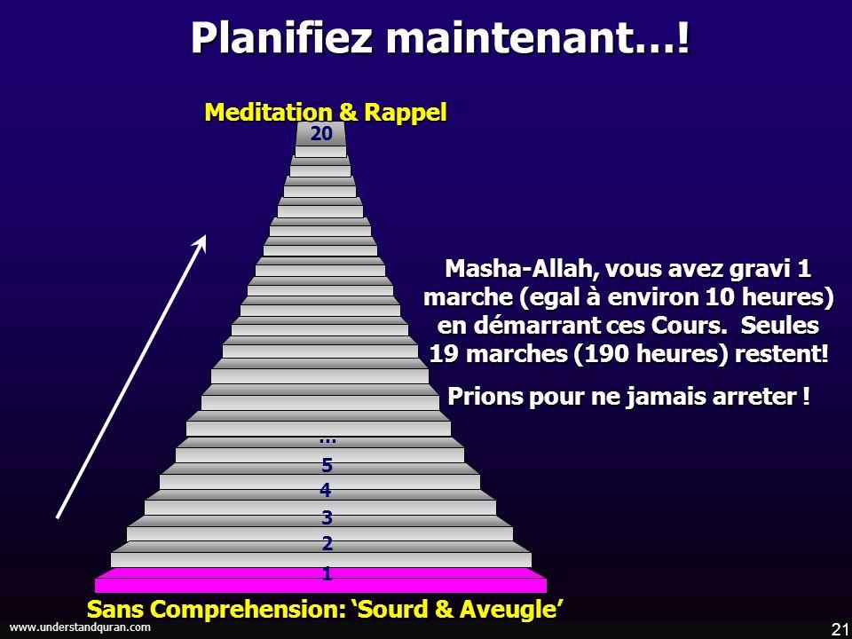 21 www.understandquran.com Planifiez maintenant…! Masha-Allah, vous avez gravi 1 marche (egal à environ 10 heures) en démarrant ces Cours. Seules 19 m