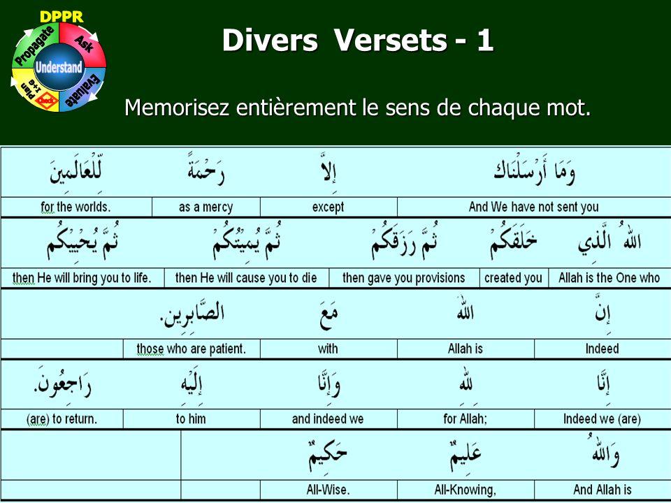 3 www.understandquran.com Divers Versets - 1 Memorisez entièrement le sens de chaque mot.